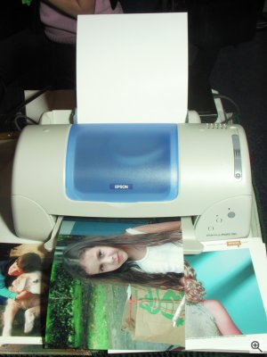 Epson's Stylus Photo 780 printer at the DigitalFocus 2001 press event, shown with borderless print in tray. Copyright (c) 2001, Michael R. Tomkins, all rights reserved. Click for a bigger picture!