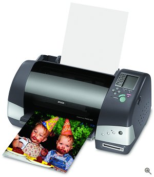 Epson's Stylus Photo 825 photo printer. Courtesy of Epson America, with modifications by Michael R. Tomkins.