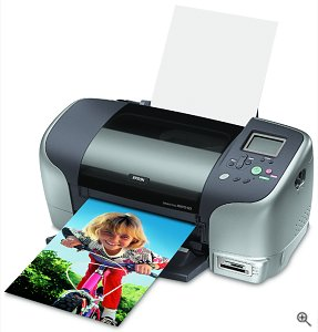 Epson's Stylus Photo 925 photo printer. Courtesy of Epson America, with modifications by Michael R. Tomkins.