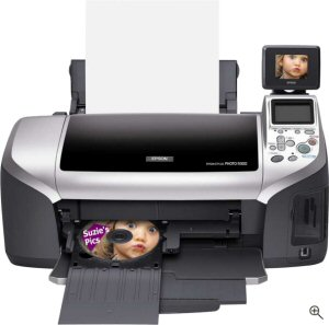 Epson's Stylus Photo R300M printer. Courtesy of Sony, with modifications by Michael R. Tomkins. Click for a bigger picture!