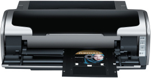 Epson's Stylus Photo R1800 photo printer. Courtesy of Epson, with modifications by Michael R. Tomkins. Click for a bigger picture!