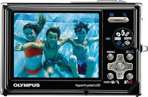 Olympus' Stylus 1050SW digital camera. Courtesy of Olympus, with modifications by Michael R. Tomkins. Click for a bigger picture!
