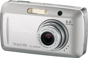 Olympus' Stylus 500 digital camera. Courtesy of Olympus, with modifications by Michael R. Tomkins. Click for a bigger picture!