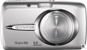 Olympus' Stylus 600 digital camera. Courtesy  of Olympus, with modifications by Michael R. Tomkins. Click for a bigger picture!