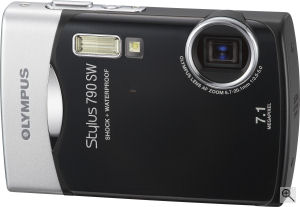 Olympus' Stylus 790 SW digital camera. Courtesy of Olympus, with modifications by Michael R. Tomkins. Click for a bigger picture!