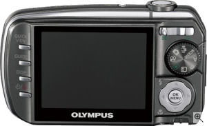 Olympus' Stylus 800 digital camera. Courtesy of Olympus, with modifications by Michael R. Tomkins. Click for a bigger picture!