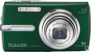 Olympus' Stylus 830 digital camera. Courtesy of Olympus, with modifications by Michael R. Tomkins. Click for a bigger picture!