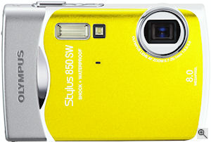 Olympus' Stylus 850 SW digital camera. Courtesy of Olympus, with modifications by Michael R. Tomkins. Click for a bigger picture!