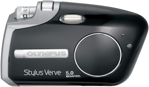 Olympus's Stylus Verve S digital camera. Courtesy of Olympus, with modfications by Michael R. Tomkins. Click for a bigger picture!