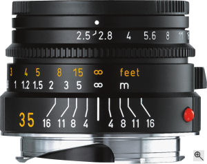 Leica's Summarit-M 35mm f2.5 lens. Courtesy of Leica, with modifications by Michael R. Tomkins. Click for a bigger picture!