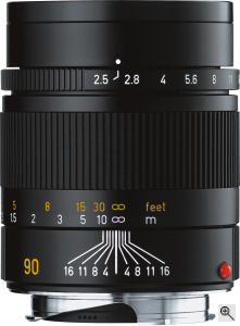 Leica's Summarit-M 90mm f2.5 lens. Courtesy of Leica, with modifications by Michael R. Tomkins. Click for a bigger picture!