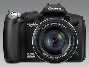 Canon's PowerShot SX1 IS digital camera. Courtesy of Canon, with modifications by Michael R. Tomkins. Click for a bigger picture!