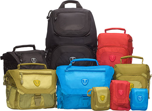 Tenba's Vector Collection of bags includes a daypack, two top load bags, three shoulder bags, and three pouches. Photo provided by MAC Group. Click for a bigger picture!