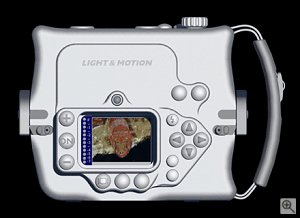Light & Motion's Tetra 5000 underwater housing. Courtesy of Light & Motion Industries, with modifications by Michael R. Tomkins.
