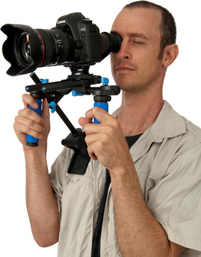 RedRock's theEvent DSLR rig in use. Photo provided by Redrock Micro.