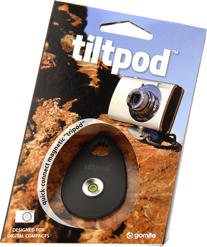 The tiltpod system consists of a magnetic base, adhesive and tripod-threaded pivot points, and a wrist strap. Photo provided by Gomite LLC. Click for a bigger picture!