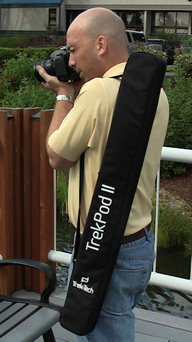 Lightweight, Sturdy, Adjustable and Packable. As a hiking staff and monopod, the TrekPod II adjusts from 43 inches to 62.5 inches as a monopod and hiking staff modes. In tripod mode the TrekPod II telescopes from 39 inches to 57.5 inches. The TrekPod II breaks down and fits in a travel case. Photo and caption provided by Trek-Tech. Click for a bigger picture!