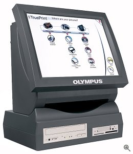 Olympus's TruePrint TP-100 self-service photo kiosk. Courtesy of Olympus America Inc., with modifications by Michael R. Tomkins. Click for a bigger picture!