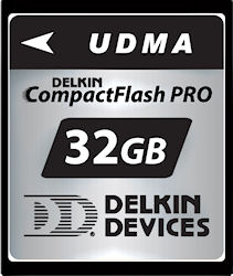 Delkin Devices' 32GB UDMA CompactFlash PRO card. Photo provided by Delkin Devices Inc. Click for a bigger picture!