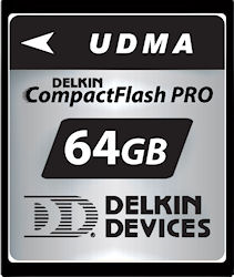 Delkin Devices' 64GB UDMA CompactFlash PRO card. Photo provided by Delkin Devices Inc. Click for a bigger picture!