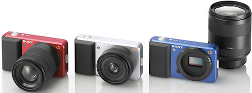 Several body colors for Sony's new ultra-compact interchangeable lens concept. Photo provided by Sony Electronics Inc. Click for a bigger picture!