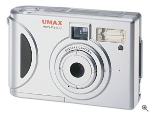 Umax's AstraPix 430 digital camera. Courtesy of Umax, with modifications by Michael R. Tomkins. Click for a bigger picture!