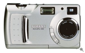 Umax's AstraPix 490 digital camera. Courtesy of Umax, with modifications by Michael R. Tomkins. Click for a bigger picture!