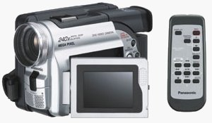 Panasonic's VDR-M20 DVD camcorder, shown alongside the remote controller. Courtesy of Panasonic, with modifications by Michael R. Tomkins.
