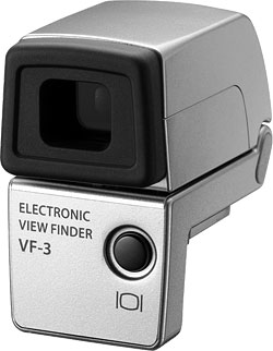 Olympus' VF-3 electronic viewfinder accessory. Image provided by Olympus Europe Holding GmbH. Click for a bigger picture!