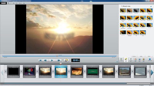 Selecting video effects in Video Easy HD. Screenshot provided by Magix AG. Click for a bigger picture!