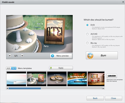 Video Easy HD's Finish dialog offers DVD, Blu-Ray, and AVCHD output options. Screenshot provided by Magix AG. Click for a bigger picture!