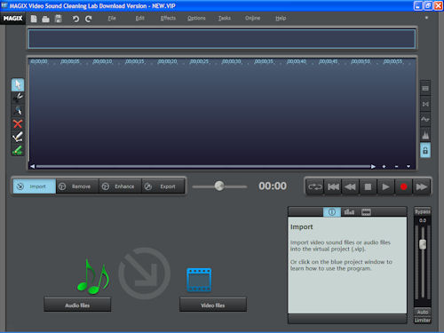 Video Sound Cleaning Lab in Import tab. Screenshot copyright © 2010, Imaging Resource. All rights reserved. Click for a bigger picture!