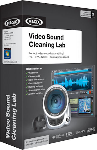 The product packaging for Magix Video Sound Cleaning Lab. Rendering provided by Magix AG. Click for a bigger picture!