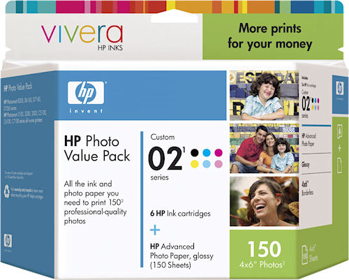 An example of HP's product packaging for its 02 inkjet ink cartridges. Photo provided by Hewlett Packard Development Co. LP. Click for a bigger picture!