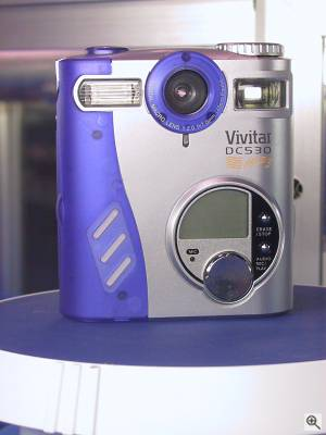 Vivitar's ViviCam 2795 digital camera (shown with  DC530 labelling from its OEM manufacturer Premier), front view. Copyright (c) 2001, Michael R. Tomkins, all rights reserved. Click for a bigger  picture!