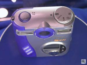 Vivitar's ViviCam 2795 digital camera (shown with  DC530 labelling from its OEM manufacturer Premier), top view. Copyright (c) 2001, Michael R. Tomkins, all rights reserved. Click for a bigger  picture!