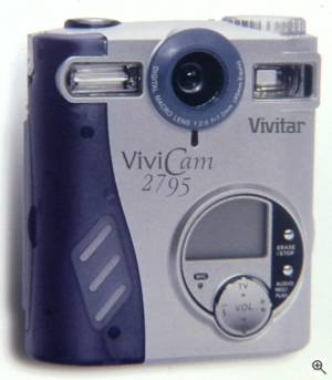 Vivitar's ViviCam 2795 digital camera, front  view. Courtesy of Vivitar Corp. Click for a bigger picture!