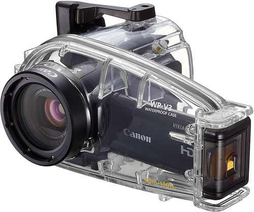 Canon's VIXIA WP-V3 underwater housing with unidentified HF M-series camcorder. Photo provided by Canon USA Inc. Click for a bigger picture!