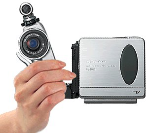 Sharp's VL-DD10 LCD Digital ViewCam in video camera configuration. Courtesy of Sharp Corp.