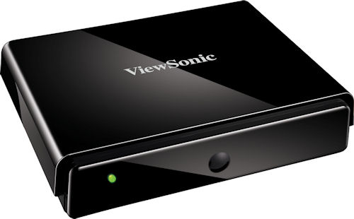 The ViewSonic NexTV VMP75 network media player, top quarter view. Photo provided by ViewSonic Corp. Click for a bigger picture!