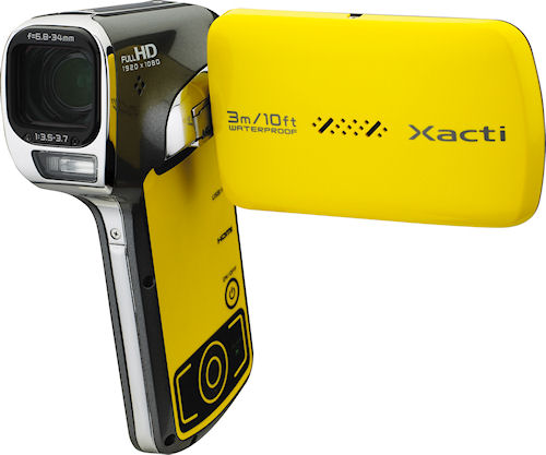 The VPC-CA102YL Dual Camera Xacti flash camcorder. Photo provided by Sanyo Electric Co. Ltd. Click for a bigger picture!