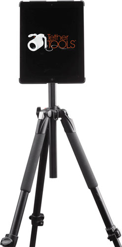 "iPad Wallee Connect mounts the iPad to tripods and studio stands using a 1/4-20"" tripod head, 3/8"" tripod mount, 5/8"" studio or arca-style mount options. Photo and caption provided by Tether Tools. Click for a bigger picture!"