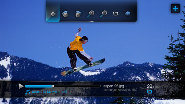 Screenshot of Western Digital's TV HD Media Player in use. Courtesy of Western Digital, with modifications by Michael R. Tomkins. Click for a bigger picture!