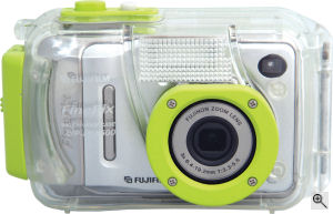 Fujifilm's WP-FXA500 underwater housing. Courtesy of Fujifilm, with modifications by Michael R. Tomkins. Click for a bigger picture!