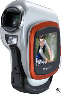 Sanyo's Xacti CA6 digital camera. Courtesy of Sanyo, with modifications by Michael R. Tomkins. Click for a bigger picture!