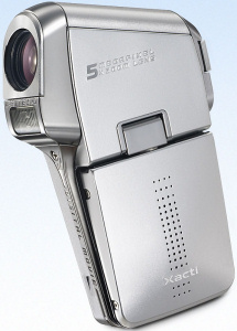 Sanyo's Xacti DMX-C5 digital camera. Courtesy of Sanyo, with modifications by Michael R. Tomkins. Click for a bigger picture!