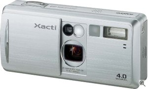 Sanyo's Xacti DSC-J4 digital camera. Courtesy of Sanyo, with modifications by Michael R. Tomkins. Click for a bigger picture!