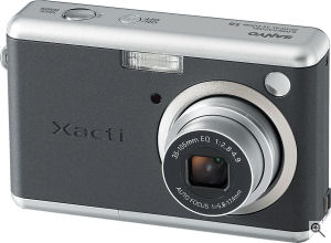 Sanyo's Xacti DSC-S6 digital camera. Courtesy of Sanyo, with modifications by Michael R. Tomkins. Click for a bigger picture!