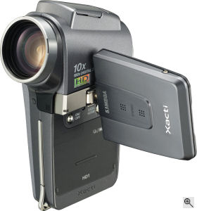 Sanyo's Xacti VPC-HD1 digital camera. Courtesy of Sony, with modifications by Michael R. Tomkins. Click for a bigger picture!