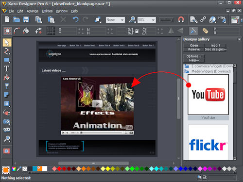 Inserting a YouTube video into a page design in Xara Designer Pro 6. Screenshot provided by Xara Group Ltd. Click for a bigger picture!